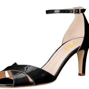 FSJ Women Comfy Peep Toe Sandals Thick Low Heels P
